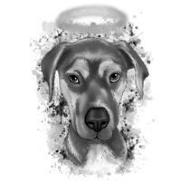 Portræt for kæledyrsmindesmærke fra foto i grafit akvarel stil