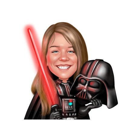 Fully Customized Kid Caricature in Color Style from Photos for Star Wars Fans - example