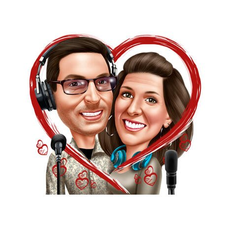 Romantic Singer Couple Caricature from Photos for Music Lovers - example