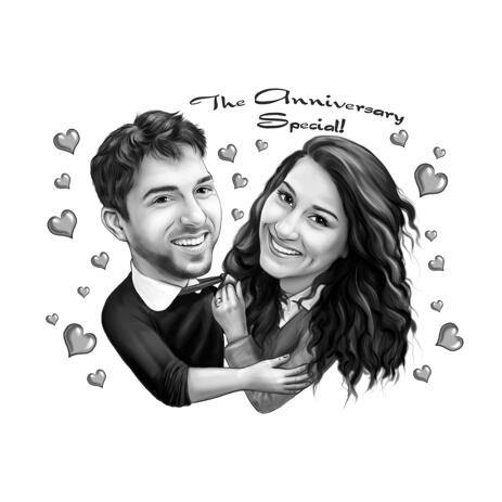 Dreamy Special Anniversary Couple Cartoon Caricature Drawing in Monochrome Style from Photos - example