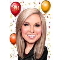 Gelukkige verjaardagskarikatuur op 30-jarig jubileumgeschenk voor haar
