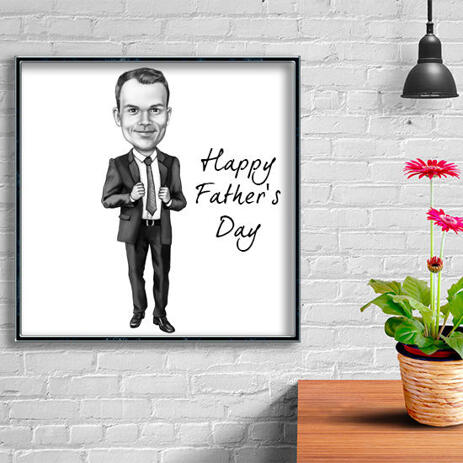 Photocopy: Customized Printed Cartoon Drawing of Man for Gift - example