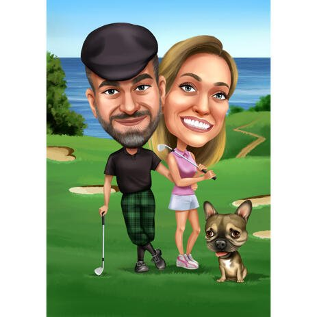 Couple with Pet Golfing Caricature Portrait from Photos for Golf Players Gift - example