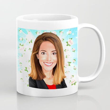Print on Mug: Bright Colored Cartoon Print on White Ceramic Mug - example