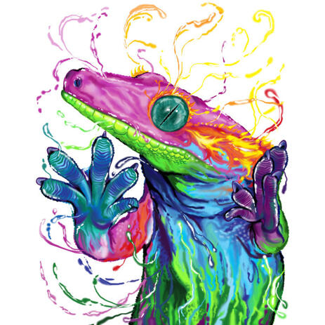 Lizard Chameleons Reptile Caricature in Watercolor Style from Photo - example