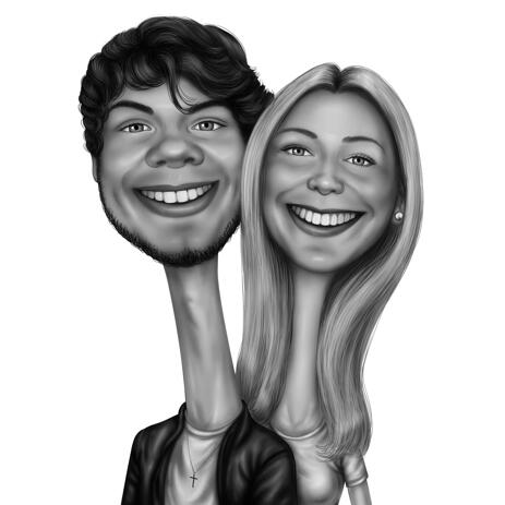 Funny Couple Caricature from Photos Hand Drawn in Black and White Style with Exaggerated Necks - example