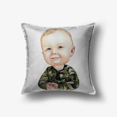 Toddler Caricature from Photos as Pillow - example