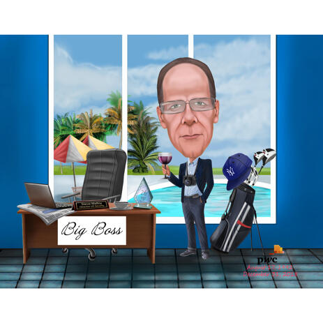 Boss Caricature Portrait for Golf and Travellers Lovers - example