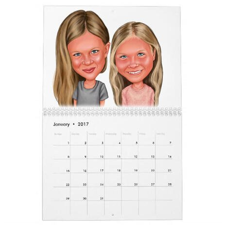 BFF Kid Caricature Printed on Calendar - example