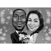 Funny Exaggerated Bride and Groom Caricature with Flower Bouquet from Photos
