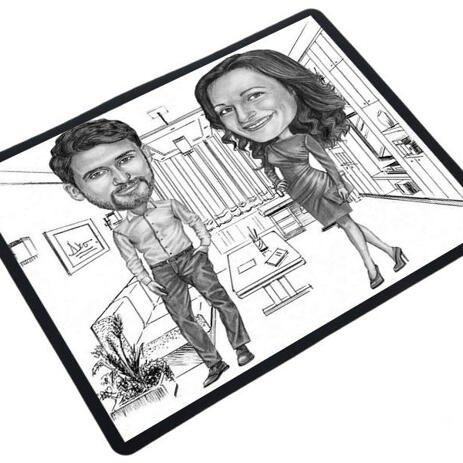 Colleagues Caricature on mouse pad - example