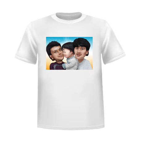 Family Caricature on Tshirt - example