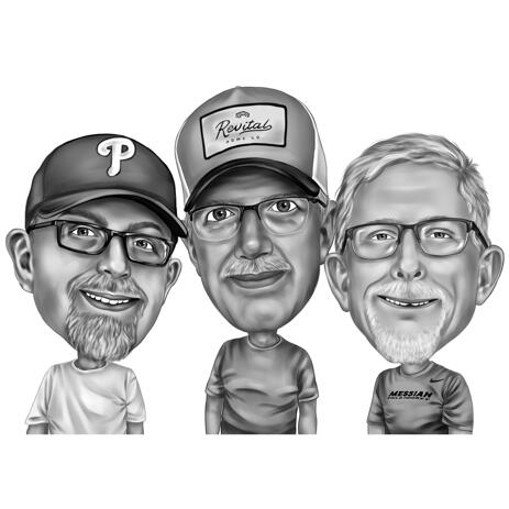 Three Faces Cartoon Caricature in Black and White Digital Style from Photos - example