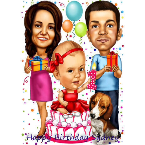 Family with Pet Caricature in Color Style for Custom Birthday Gift - example