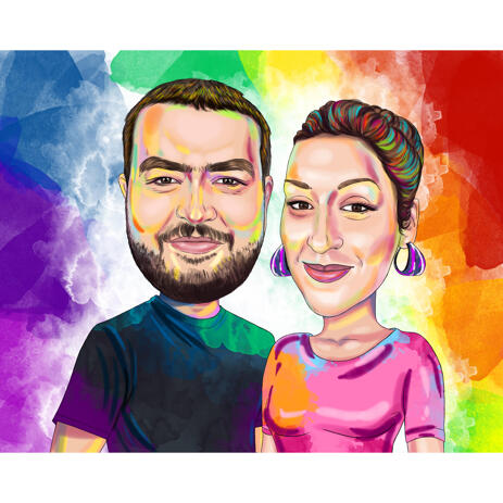 Watercolor Couple Portrait with Colored Background - example
