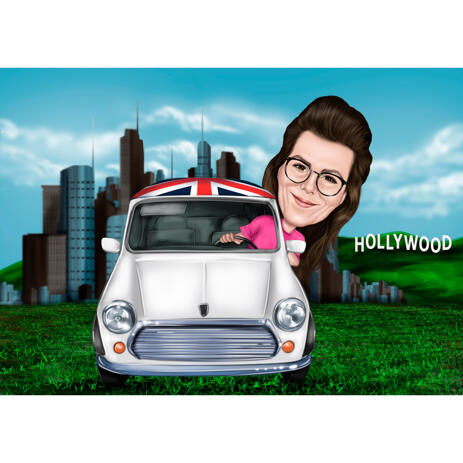 Woman in Car Caricature with Hollywood Sign in the Background - example
