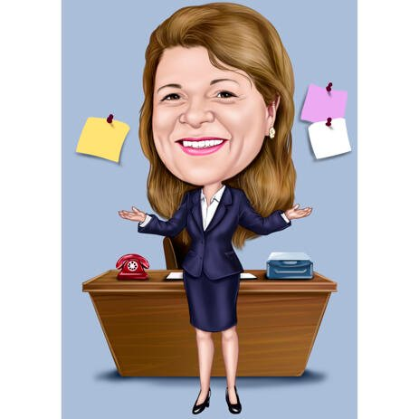 Full Body Manager Caricature with Office Desk Background - example