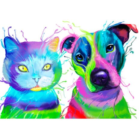 Dog and Cat Caricature Portrait in Colorful Watercolor Style from Photos - example