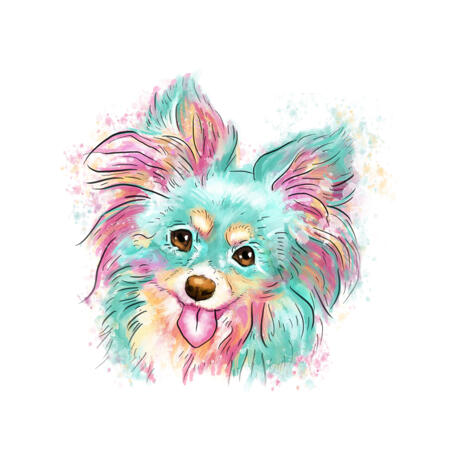 Funny Dog Portrait Cartoon Portrait Picture in Tender Pastels Hand-Drawn from Photos - example