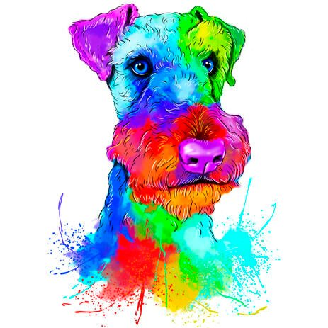 Watercolor Airedale Terrier Portrait from Photos - example