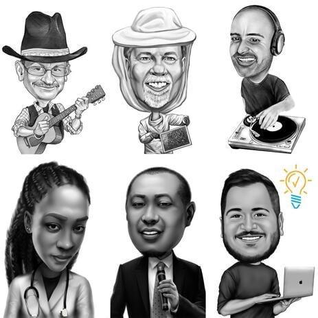Карикатура человека любой профессии или хобби с фотографий в черно-белом стиле - example