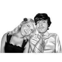 Ritratto di coppia realistica disegno in stile digitale in bianco e nero