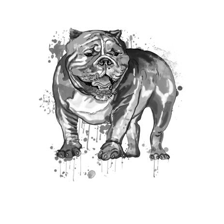 Full Body Bulldog Caricature Art Portrait Painting in Black and White Watercolor Style - example