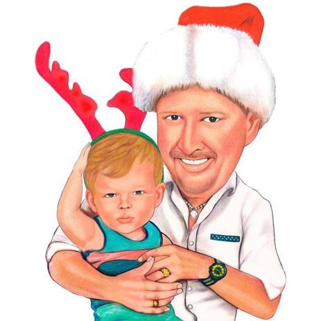 Padre con caricatura di Natale per bambini dalle foto - example