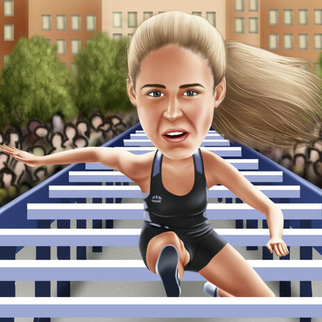 Hurdling Caricature from Photos with Colored Background - example
