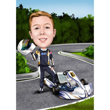Go Kart Person Caricature from Photos for Go-Karting Racing Lovers - example