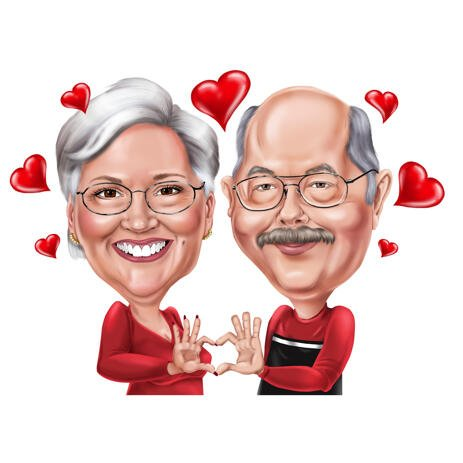 Romantic Couple Caricature for Wedding Anniversary Gift - example
