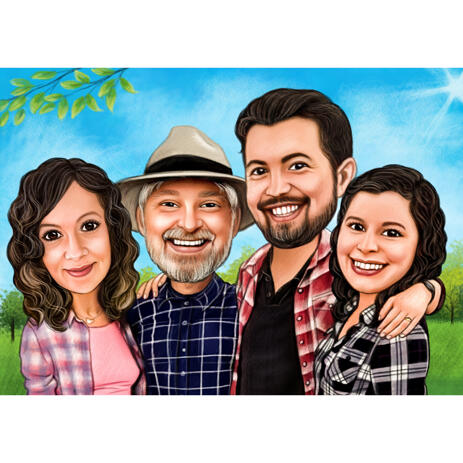 Family Outdoors Caricature in Colored Style from Photos - example