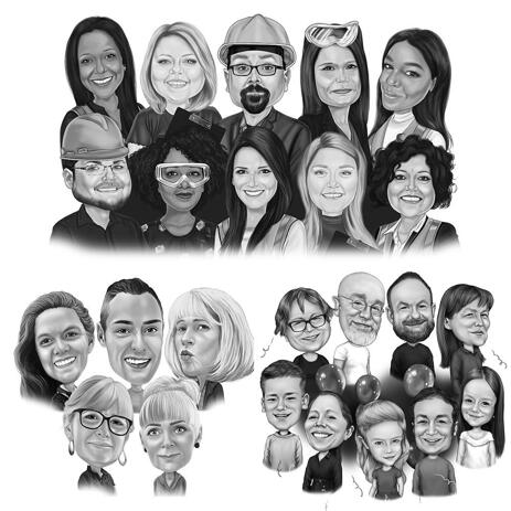 Group Caricature Portrait in Black and White Style - example