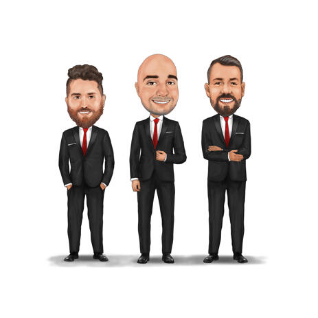 Group Businessman Partners Caricature in Colored Style from Photos - example