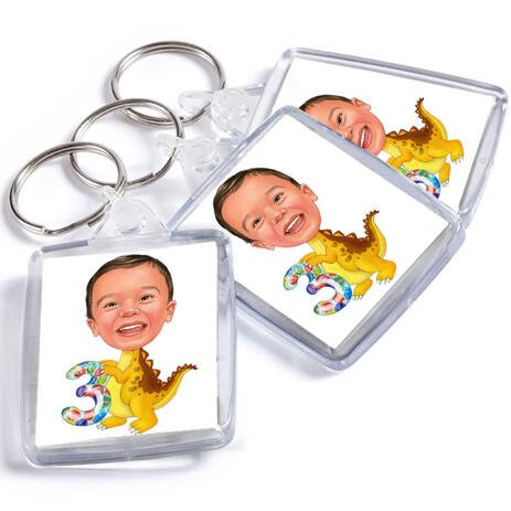 Birthday Children Caricature on Keyrings - example