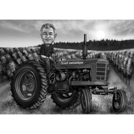Black and White Farmer Caricature - Man on Tractor with Custom Background from Photo - example