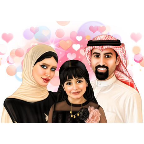 My Family - Custom Portrait Drawing from Photos in Color Digital Style - example