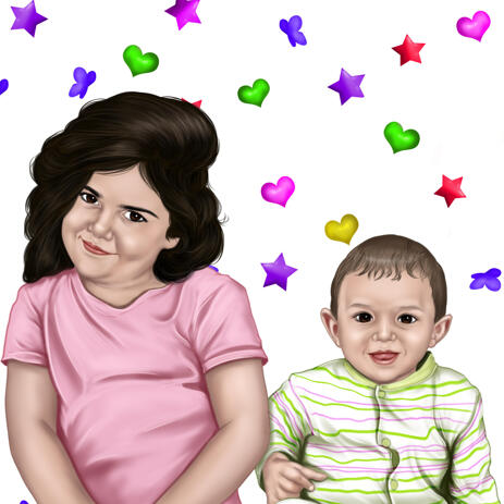 Brother and Sister Portrait Hand Drawn from Photos with Multicolored Hearts Background - example