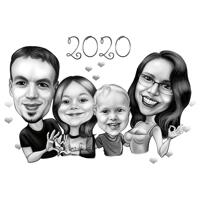 Love Themed Family Highly Exaggerated Caricature in Black and White Style from Photos