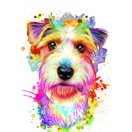 Watercolor Rainbow Style Wire Fox Terrier Portrait from Photos - example