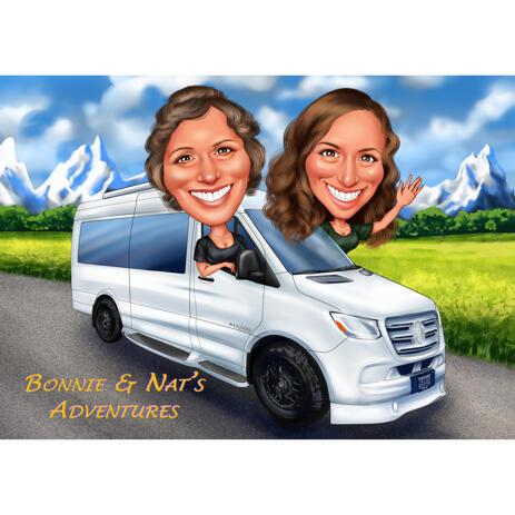 Two Persons in Van Caricature from Photos for Custom Gift - example