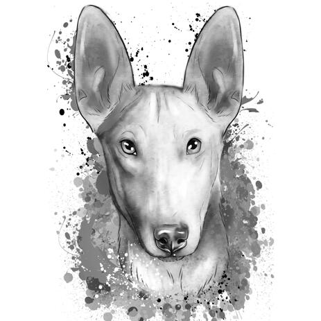 Bull Terrier Portrait from Photo Hand Drawn in Grayscale Watercolor Style - example