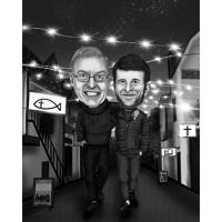 Best Buddies Caricature in Black and White Style with Custom Background