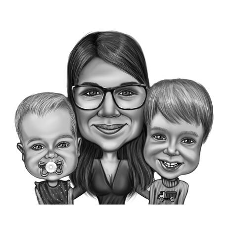 Mother with Two Children Caricature in Black and White High Exaggerated Style from Photos - example