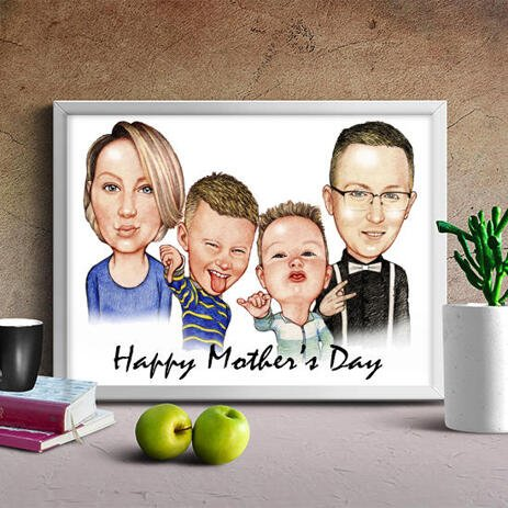 Moederdag Family Caricature Print: Custom Pencils Cartoon Drawing in Coloured Pencil Style - example