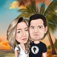 Kopf und Schultern Paar im Urlaub Cartoon Portrait mit Sonnenuntergang Hintergrund