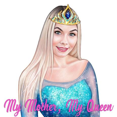 Beau portrait dessin de mère comme personnage de la Reine dans le style de crayons de couleur - example