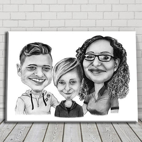 Family Caricature in Black and White Pencil Style on Canvas Print - example