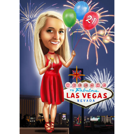 Colored Style Sister Birthday Caricature from Photos with Custom Background - example