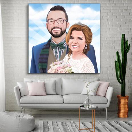 Custom Wedding Portrait Canvas Print Gift - example